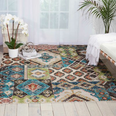 Star Colored Area Rug Rug Size: Rectangle 53 x 73