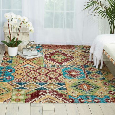 Star Red/Orange/Green Area Rug Rug Size: Rectangle 53 x 73