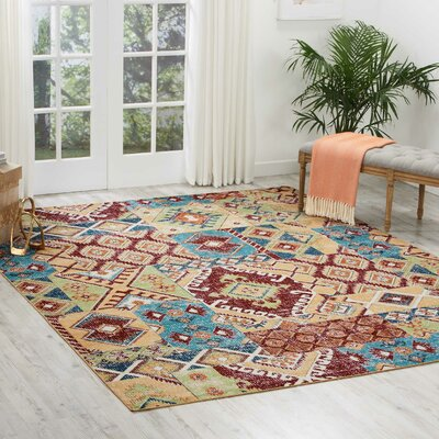Star Red/Orange/Green Area Rug Rug Size: Rectangle 710 x 10