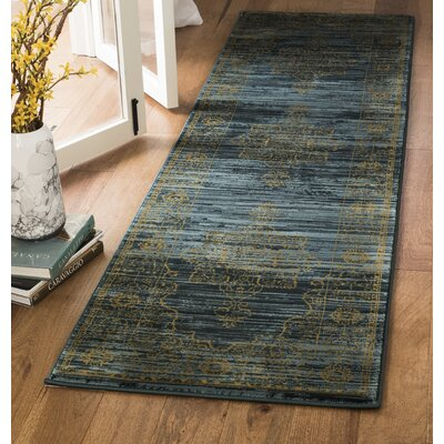 Zennia Turquoise/Gold Area Rug Rug Size: Runner 23 x 6