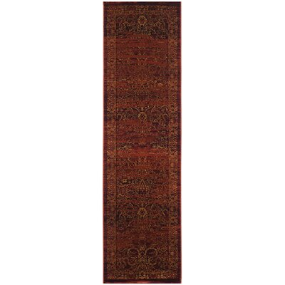 Zennia Ruby / Gold Area Rug Rug Size: Runner 23 x 8