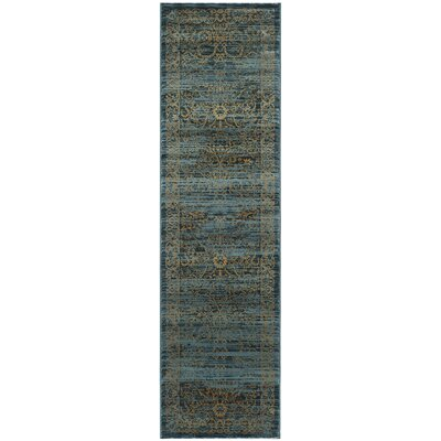 Zennia Turquoise & Gold Area Rug Rug Size: Runner 23 x 8