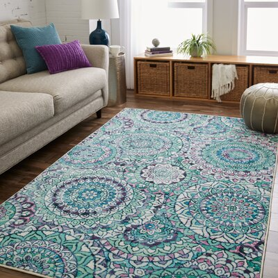 Amblewood Medallion Seafoam Green Area Rug Rug Size: Rectangle 5 x 8