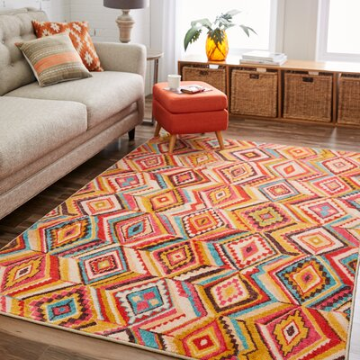 Amblewood Yellow/Red Area Rug Rug Size: Rectangle 8 x 10