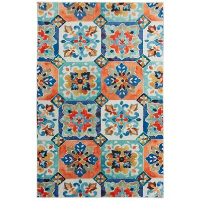 Amblewood Painted Tile Tangerine Orange/Blue Area Rug Rug Size: Rectangle 5 x 8