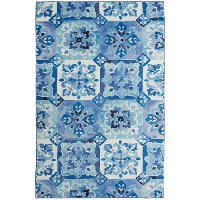 Amblewood Painted Tile Blue/White Area Rug Rug Size: Rectangle 5 x 8