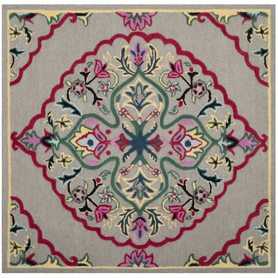 Blokzijl Hand-Tufted Dark Gray Area Rug Rug Size: Square 5