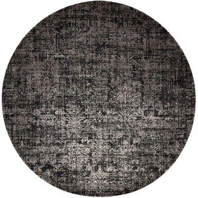 Arabelle Wool Black/Beige Area Rug Rug Size: Round 8