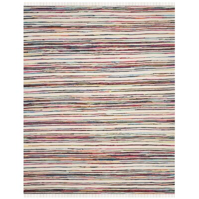 Sanchali Hand-Woven Ivory/Red Area Rug Rug Size: Rectangle 9 x 12