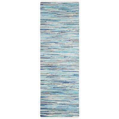 Samia Hand-Woven Blue Area Rug Rug Size: Runner 23 x 11