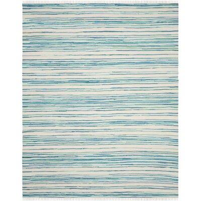 Saleem Hand-Woven Ivory/Green Area Rug Rug Size: Rectangle 10 x 14