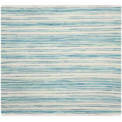 Saleem Hand-Woven Ivory/Green Area Rug Rug Size: Square 4