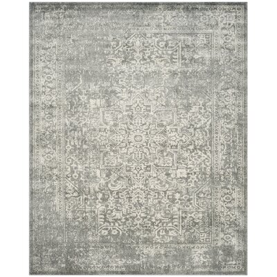 Chaudiere Silver/Ivory Area Rug Rug Size: Rectangle 12 X 18