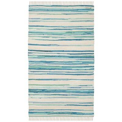 Saleem Hand-Woven Ivory/Green Area Rug Rug Size: Rectangle 2 x 3