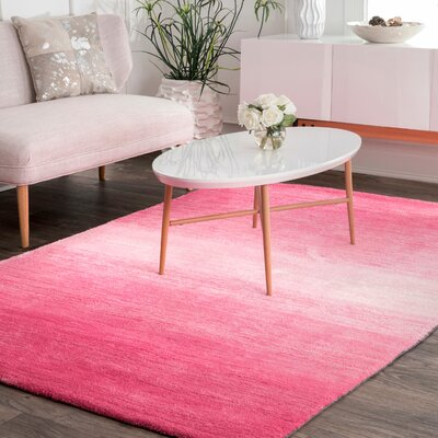 Sidhu Ombre Bernetta Hand-Tufted Pink Area Rug Rug Size: Rectangle 6 x 9