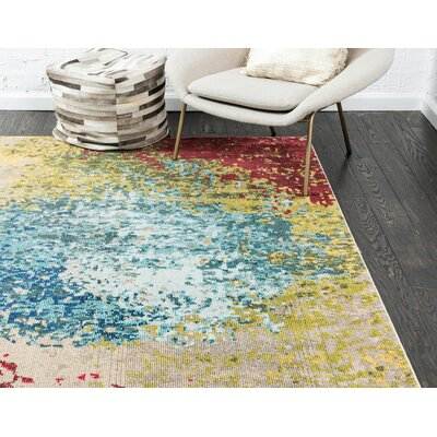Demian Blue/Red Area Rug Rug Size: Rectangle 8 x 10