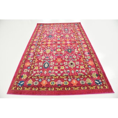 Iris Pink Area Rug Rug Size: Rectangle 5 x 8