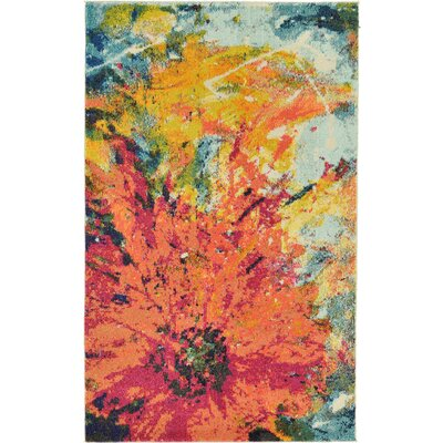 Roshan Orange Area Rug Rug Size: Round 8
