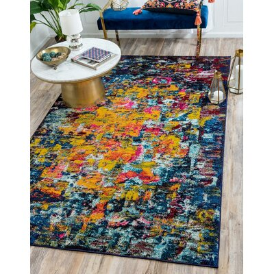 Fujii Pink/Yellow Area Rug Rug Size: Rectangle 8 x 11