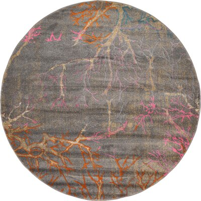 Essex Gray Area Rug Rug Size: Round 6