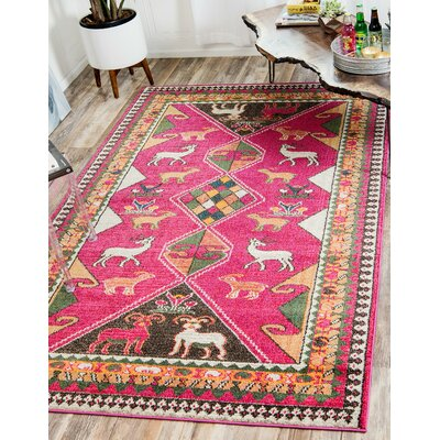 Phillips Pink Area Rug Rug Size: Rectangle 7 x 10