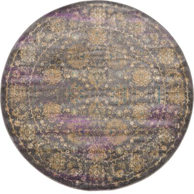 Sepe Gray Area Rug Rug Size: Round 6