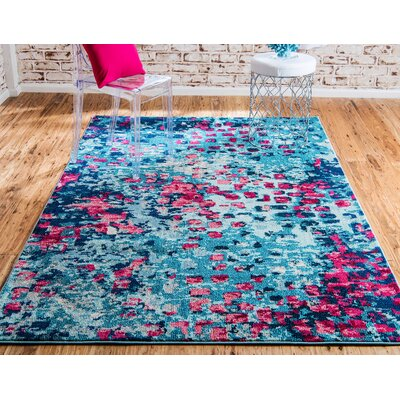 Fujii Blue Area Rug Rug Size: Rectangle 5 x 8