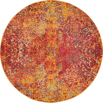 Fujii Red Area Rug Rug Size: Round 6