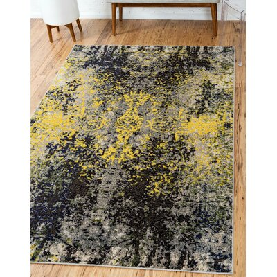 Fujii Gray/Yellow Area Rug Rug Size: Rectangle 106 x 165