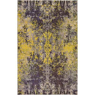 Fujii Gray/Yellow Area Rug Rug Size: Rectangle 7 x 10