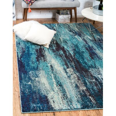 Fujii Blue Area Rug Rug Size: Rectangle 6 x 9