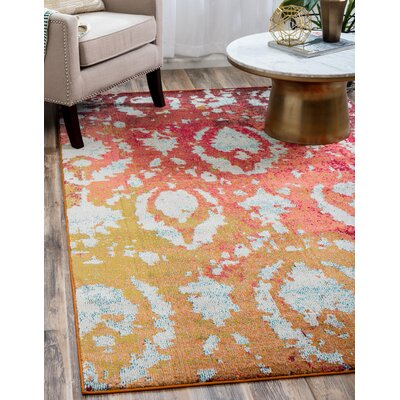 Aquarius Rust Red Area Rug Rug Size: Rectangle 9 x 12