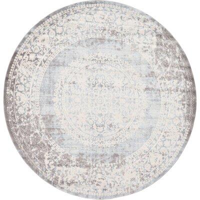 Twila Gray Area Rug Rug Size: Round 8