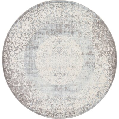 Twila Gray Area Rug Rug Size: Round 6
