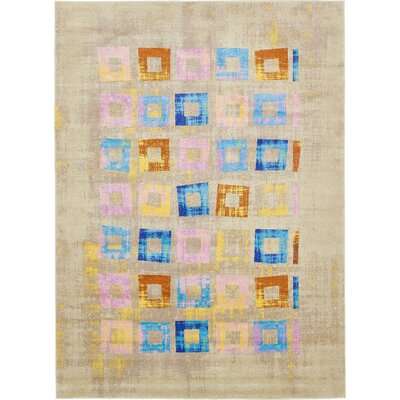 Annisville Beige/Blue Area Rug Rug Size: Rectangle 8 x 11