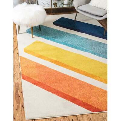 Fujii Beige Area Rug Rug Size: Rectangle 33 x 53