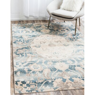 Mellal Blue Area Rug Rug Size: Rectangle 9 x 12