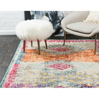 Cassava Purple/Orange/Blue Area Rug Rug Size: Round 4 x 4