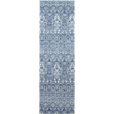 Fiora Ivory/Blue Area Rug Rug Size: Runner 26 x 8