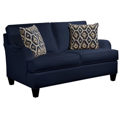 Elsinore Loveseat Body Fabric: Gaberdine Navy, Pillow Fabric: Mod Ikat Gray