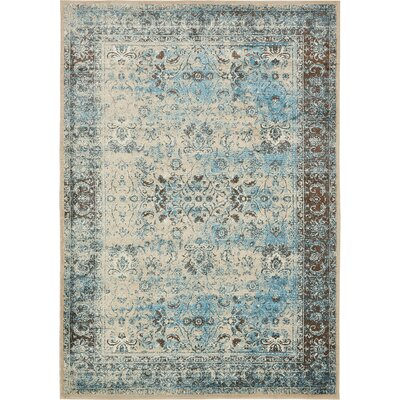 Neuilly Blue/Beige Area Rug Rug Size: Rectangle 2 x 3