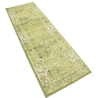Neuilly Green/Ivory Area Rug Rug Size: Runner 3 x 91
