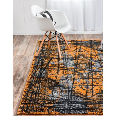 Yareli Black/Orange Area Rug Rug Size: Rectangle 4 x 6