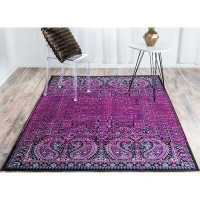 Neuilly Lilac/Black Area Rug Rug Size: Rectangle 7 x 10
