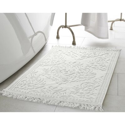 Garceau Cotton Fringe Bath Rug Color: White, Size: 27 W x 45 L