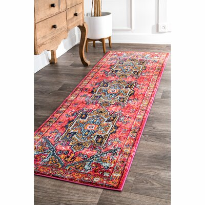 Daria Pink/Red Area Rug Rug Size: Runner 26 x 8
