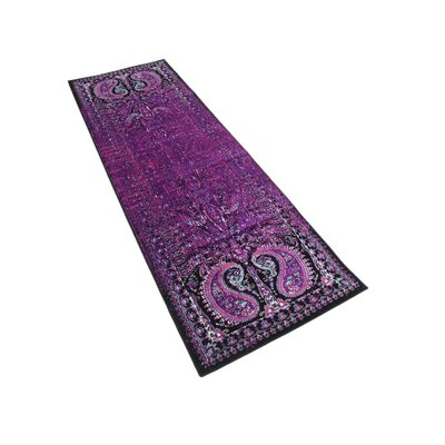 Neuilly Lilac/Black Area Rug Rug Size: Runner 3 x 91