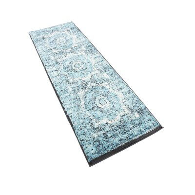 Yareli Blue/Black Area Rug Rug Size: Runner 3 x 91