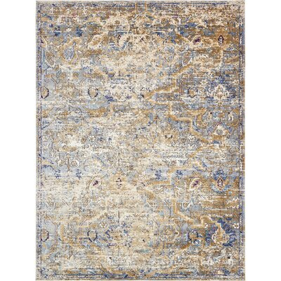 Koury Light Blue/Tan Area Rug Rug Size: Rectangle 106 x 165