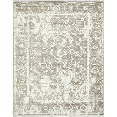 Sherrill Gray Floral Area Rug Rug Size: Rectangle 8 x 10